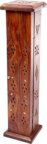 Luxflair Räucherturm Räuchersäule Räucherstäbchenhalter mit Messing Ornamenten, für Räucherstäbchen und Räucherkegel geeignet, verwendbar als Räuchergefäß oder Räucherkasten