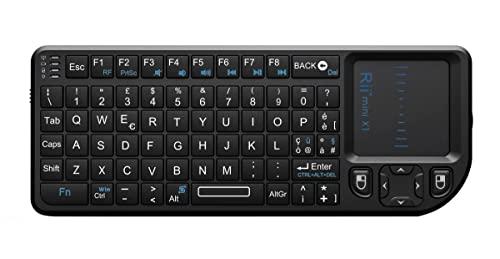 Rii Mini X1 Wireless (Layout Italiano) - Mini Tastiera con Mouse touchpad per Smart TV, Mini PC, HTPC, Console, Computer