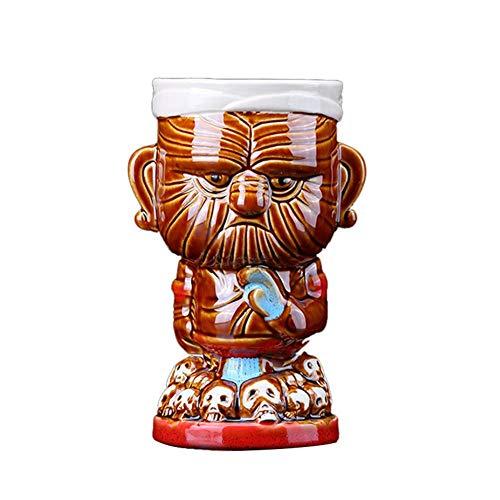Tiki Keramik Becher, 430ML Keramik Hawaiianische Cocktail Insel Becher Hawaii Tassen Maori Chefs Tiki Becher Cocktail Tasse Bier Weinbecher Keramik Tiki Becher Kunsthandwerk
