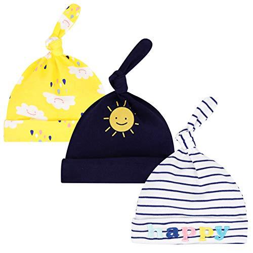 ZYUPHY Baby Mütze Neugeborene Babymütze Winter Weiche Beanie Infant Hut Mütze Jungen Mädchen Unisex 0-6 Monate, 3 Stück