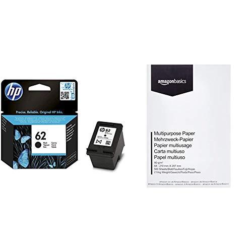 HP 62 C2P04AE Cartuccia Originale per Stampanti HP a Getto d'Inchiostro, Nero & Amazon Basics Carta da stampa multiuso A4 80gsm, 1 risma, 500 fogli, bianco