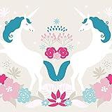 anna wand Bordüre selbstklebend EINHORN - Wandbordüre Kinderzimmer/Babyzimmer mit Einhörnern in Beige-Blau-Rosa - Wandtattoo Schlafzimmer Mädchen & Junge, Wanddeko Baby/Kinder