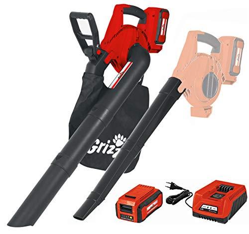 Grizzly Tools Akku-Laubsauger/Laubbläser/Häcksler (40 Volt, 260 m³/h Blasleistung, 400 m³/h Saugleistung) inkl. 40 V, 2,5 Ah Akku, Ladegerät, Fangsack