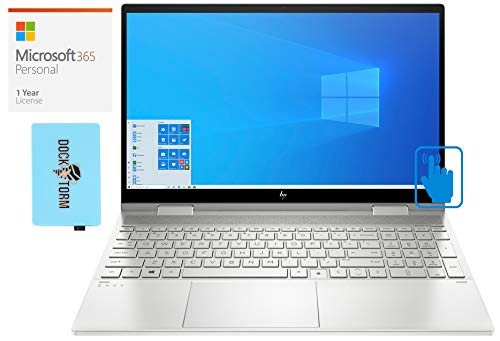 HP Envy x360 Home and Business Laptop (Intel i7-10510U 4-Core, 32GB RAM, 1TB PCIe SSD, NVIDIA MX330, 15.6' Touch Full HD (1920x1080), Active Pen, Win 10 Pro) with Microsoft 365 Personal, Hub