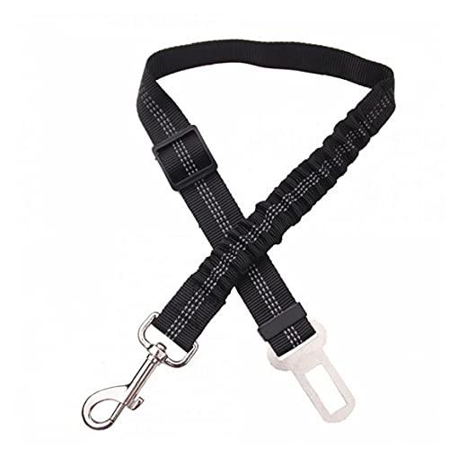 Premium bil säkerhetsbälte för hundar katter husdjur, justerbar säkerhet Heavy duty elastisk bly sele för bilar med elastisk nylon bungee buffert (svart) 1 pack