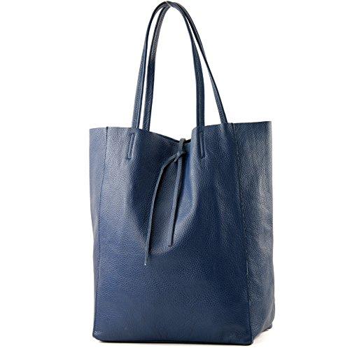 modamoda de - T163 - Ital. Shopper Large mit Innentasche aus Leder, Farbe:Saphirblau