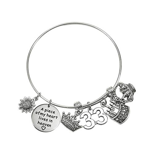 TUUXI 1pcs Birthday Gifts Bracelet 2.36 Inch Silver Tone Steel Bangle Charm Bracelet 33th Birthday Gift for Sister Friend Women Wife Girl Present Jewelry