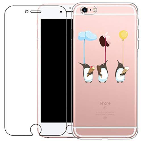 Blossom01, custodia con protezione schermo in vetro temperato per iPhone 6 e 6S, cover ultra sottile in gel morbido, TPU e silicone, con simpatico cartone, plastica, Penguin, iPhone 6 / 6S