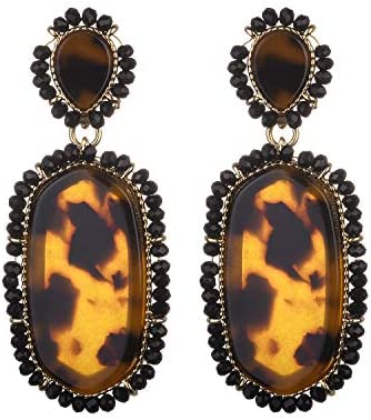 Nicole Miller New York Leopard Print Oblong Shaped Acrylic Black Beads Fashion Dangle Earrings product image