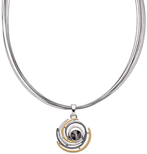 Perlkönig Kette Halskette | Damen Frauen | Illusion in Gold Schwarz Silber | Rund | Stahlband | Tricolor | Karabiner | Nickelabgabefrei