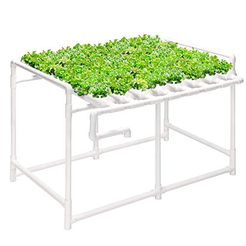 VIVOSUN Hydroponic Grow Kit, 1 Layer 72 Plant Sites 8 PVC Pipes Hydroponics Growing System with Water Pump, Pump Timer, Nest Basket and Sponge for Leafy Vegetables