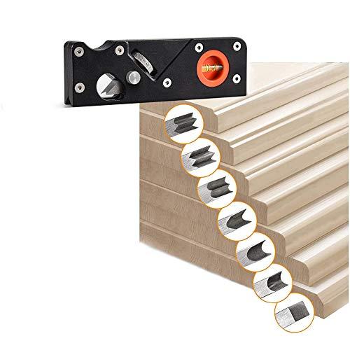 Holzbearbeitungskanten-Eckhobel, 45 Grad Schrägkante,manuelle Hobel, verstellbare Fasenhobel, Anfasen und Trimmen, Trimmhobel, Fasenhobel,Handhobel für Holzbearbeitung (Schwarz+7pc Klinge)