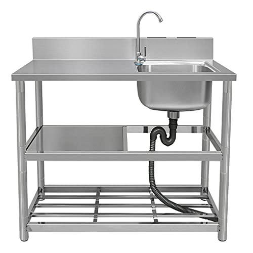 Fregadero de cocina independiente, fregadero de acero inoxidable, con placa de retención de agua de doble ranura, se aplica a la lavandería de cocina de garaje interior al aire libre, fácil de monta