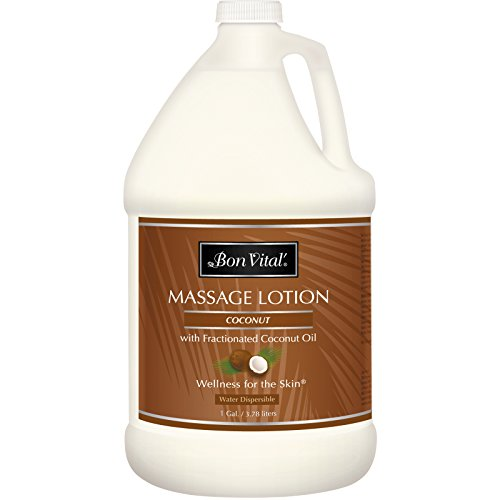 Bon Vital' Coconut Massage Lotion Made with 100% Pure Fractionated Coconut Oil, Lightweight Massage...