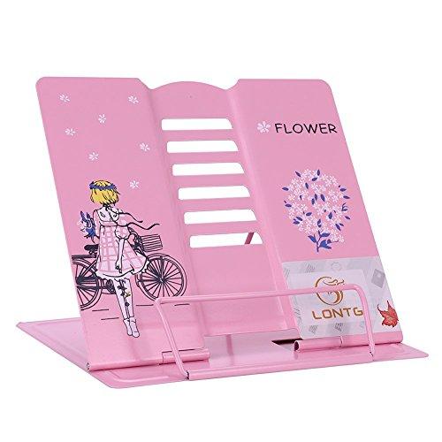 Buchständer Bücher Tablets Halter Rosa Leseständer für Kinder Erwachsene ErgonomischeBuchstütze Metall Buchaufsteller Multifunktionaler Buchhalter Kochbuchhalter für Küche Kinderzimmer Büro