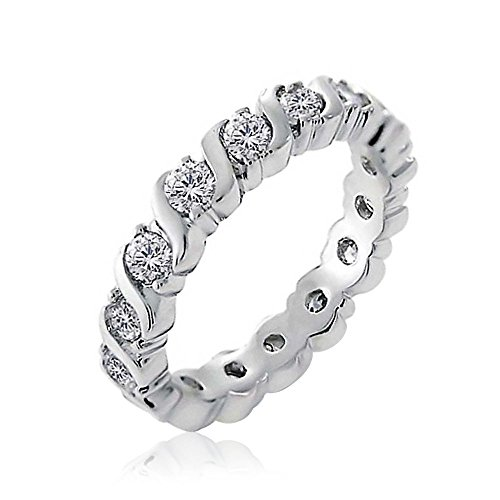 Bling Jewelry Cubic Zirconia CZ Band Onda Impilabile Impostare L'Eternità Anniversario di Nozze Anello di Banda per Donne Argento 925