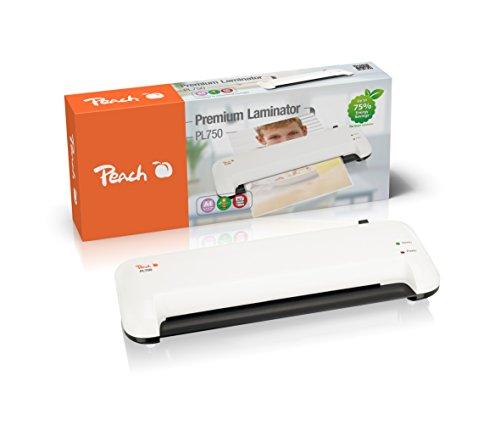 Peach PL750 Laminiergerät DIN-A4 , spart bis zu 75% Energie , schnell startklar , geeignet für handelsübliche Folien , 1½ Seiten pro Min. , inkl. 10 Laminierfolien