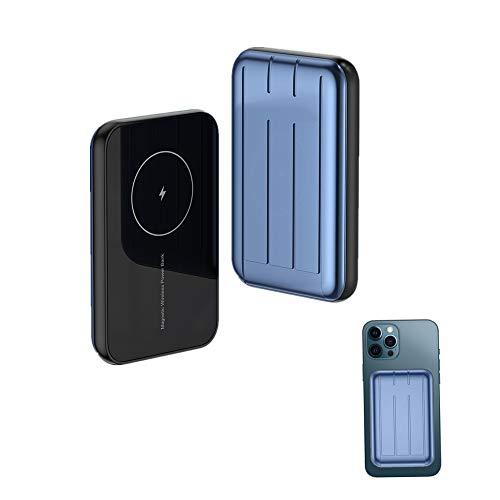 Ousyaah Cargador Inalámbrico Mag-Safe, Mag-Safe Mini Banco de Energía, 5000 mAh Energía Móvil, 15 W Qi Batería Externa Magnética de Carga Rápida para Phone 12/12 Mini/Pro/Max (Azul)
