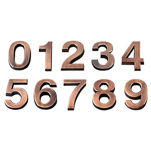 VOSAREA 3D-Hausnummer 0-9 Aufkleber Türnummer Zimmernummer für Haus Hotel Tür Adresse Zeichen 5 cm 10 Stücke (Bronze)