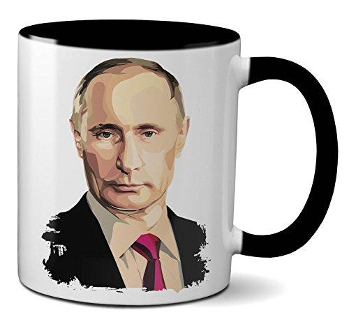 PAPAYANA - 1018 - Putin-Portrait - Beidseitig Bedruckte Tasse 325ml 11oz - Große Farbauswahl - Schwarz