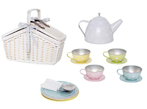 JaBaDaBaDo G12017 Tee-Set aus Blech im Picknickkorb, Pastell
