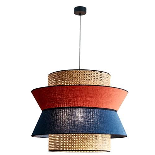 NAMFMSQ Moderno Chino Retro Colgante de suspensión lámpara de araña de ratán E27 Linterna Lámpara de Tela Techo Colgante Tejido a Mano Luz Colgante de una Sola Cabeza Rojo Azul Moderno Minimalista