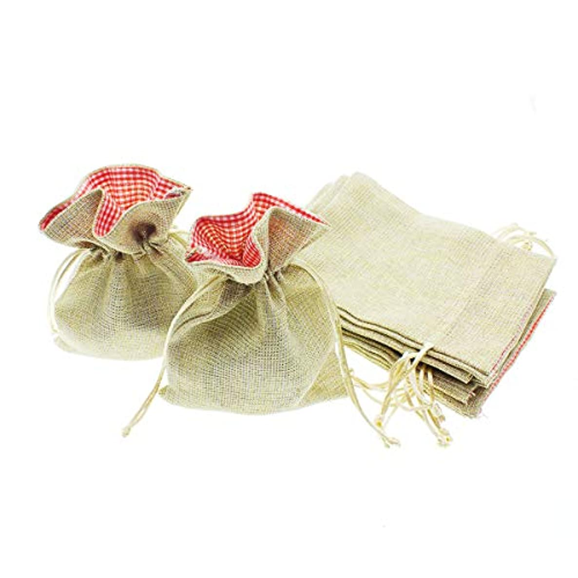 """Linen and Bags 5"""" x 7"""" Linen Drawstring Party Favor Bags with  Buffalo Plaid Opening Craft Pouches Sparkle 24 Pack"""