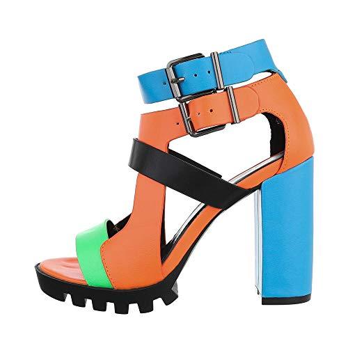 Ital-Design Damenschuhe Sandalen & Sandaletten High Heel Sandaletten, 9H9P32-, Kunstleder, Blau Orange, Gr. 36