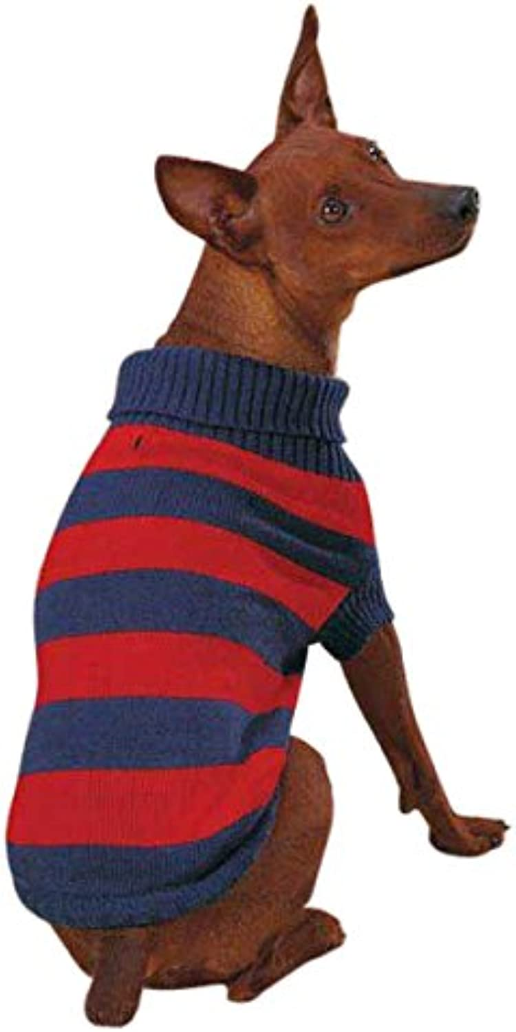 Casual Canine Acrylic Rugby Dog Sweater, XXSmall, Red