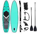 lucear Sup Stand Up Paddle Board Gonflable 320 x 76 x 15 cm Accessoires complets Pagaie réglable, Pompe, Sac à Dos de Voyage, Laisse, Sac étanche (Green)