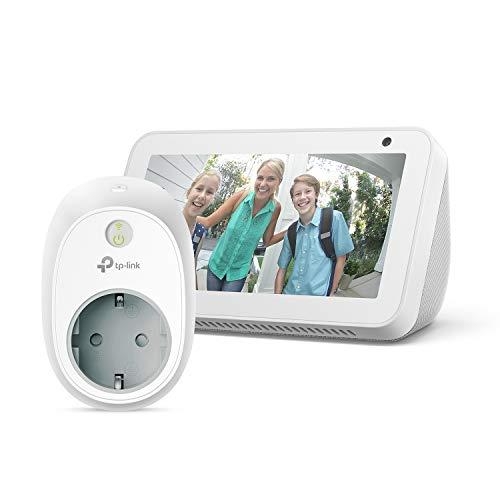 Echo Show 5, blanco +TP-Link HS100 Enchufe inteligente, compatible con Alexa