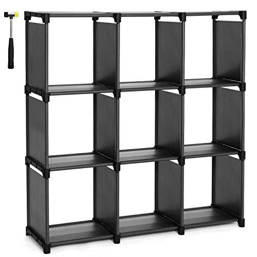 SONGMICS Doe-het-zelf kast met 9 vakken open boekenkast voor thuiskantoor Organizer voor woonkamer Zwart LSN45BK