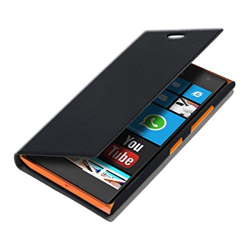 kwmobile Nokia Lumia 730/735 Hülle - Handyhülle für Nokia Lumia 730/735 - Schwarz - Handy Case Schutzhülle Klapphülle