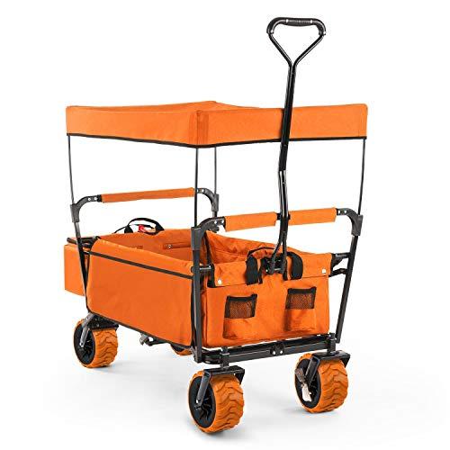 Waldbeck The Orange Supreme - Bollerwagen, Handwagen, kippsicher, witterungsbeständig, Falttechnik, 68 kg Belastbarkeit, PU-Kunststoffräder, pulverbeschichtete Metallteile, orange