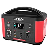 GOOLOO Portable Power Station Generator, 500W 520Wh Outdoors Solar Supply Backup Battery with AC Outlet PD 60W for Camping Road Trip