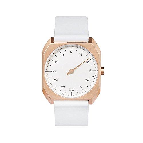 slow Mo 15 - Schweizer Unisex Einzeigerarmbanduhr mit analoger 24 Stundenanzeige Leder Rosegold/weiß