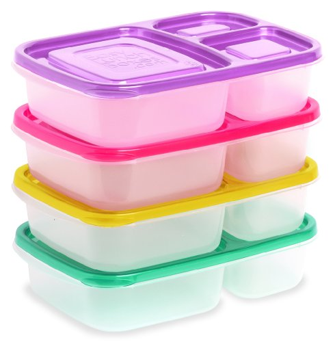 EasyLunchboxes Lunch Box Food Containers, 3-Compartment, Set of 4, Brights