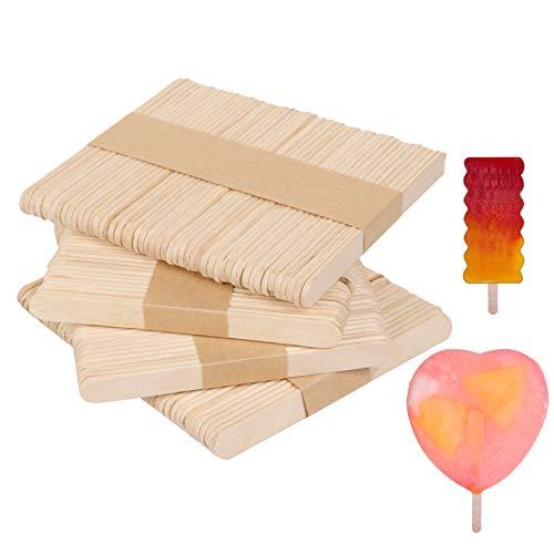 Eisform Holzstab, Eisstiele aus holz, Packung mit 200 Holzstäbchen Eisstangen, hölzernen Spateln, DIY-Kunsthandwerk, Holzstäbchen zum Basteln, Rühren