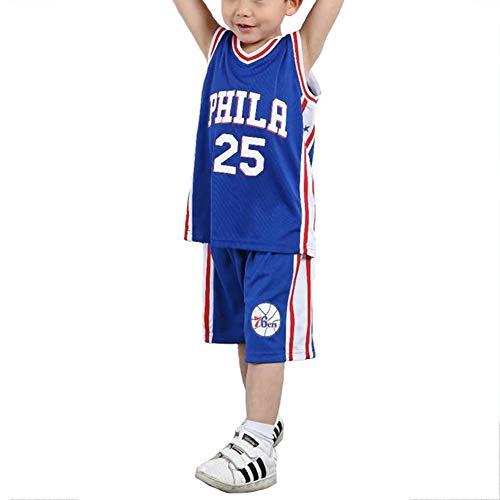 LCHENX-Mädchen Junge NBA Philadelphia 76Ers Nr. 25 Fan Basketball Trikots Mesh Ärmellose Weste Sportswear,Blau,6 Years