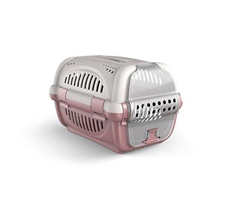 MEDIA WAVE store 10569 Trasportino in plastica Modello Rhino per Cani e Gatti da Viaggio 51 cm (Rosa)