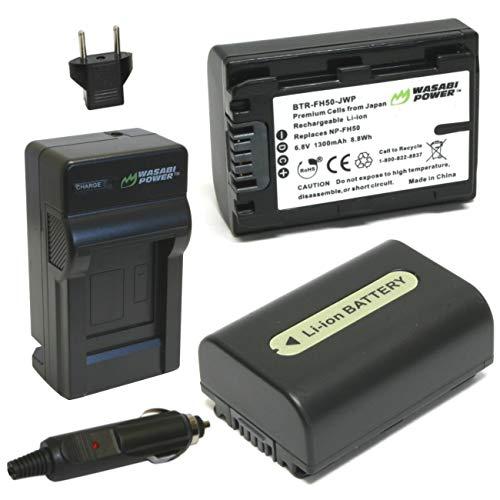 Wasabi Power Battery (2-Pack) and Charger for Sony NP-FH50 and Sony DSLR-A230, DSLR-A290, DSLR-A330, DSLR-A380, DSLR-A390, DSC-HX1, DSC-HX100V, DSC-HX200V, HDR-TG5V