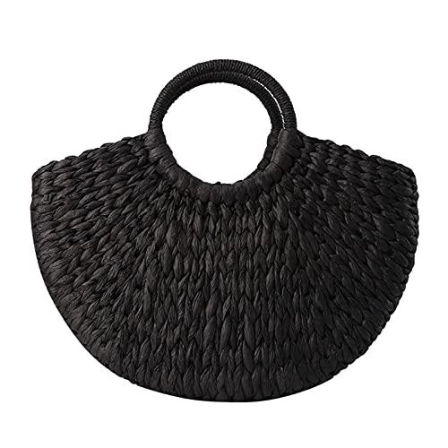 YYmei Mujeres Paja Bolsos Mujer Mano Hecho a Mano Cesta Tejido Bolso de ratán (Color : Black)