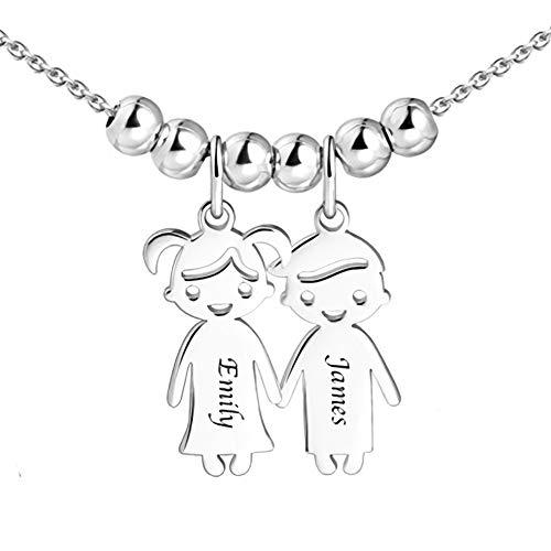 Personalisierte Namenskette für Mütter Gravur 1 bis 5 Kinder Namen—Mutter Name Halskette Boy und Girl Charms für Muttertag 925er Sterling Silber