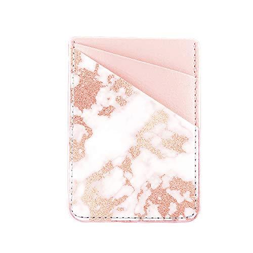 Obbii Kartenhalter aus PU-Leder für die Rückseite des Telefons mit 3M-Klebefolie zum Aufkleben für Kreditkarten und Brieftaschen für iPhone und Android-Smartphones (Roségold-Marmor)