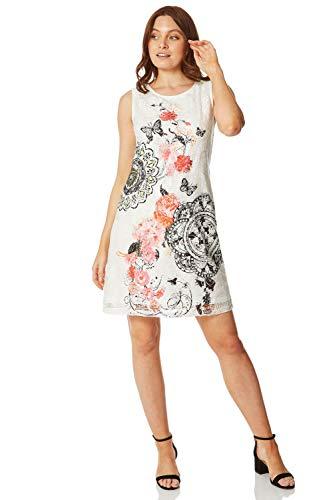 Romain Originals - Vestido de mujer con estampado unisex sin mangas y encaje informal – Damas Vacaciones, boda, fiesta de jardín, fiesta, ocasión especial para el día a la moda
