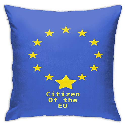 Citizen of The Eu Throw Pillowcase,Pillow Cover Square Cushion Case for Sofa Couch Car Bed Home Decorative 18' x 18' inch