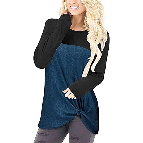 XUJY Camiseta básica para mujer para primavera y otoño, manga corta, cuello redondo, informal, asimétrico, dobladillo anudado, de algodón, patchwork., azul, XL