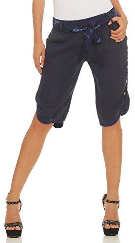 Mississhop 281 Damen Capri 100% Leinen Bermuda lockere Kurze Hose Freizeithose Shorts mit Gürtel und Knöpfen Dunkelblau L