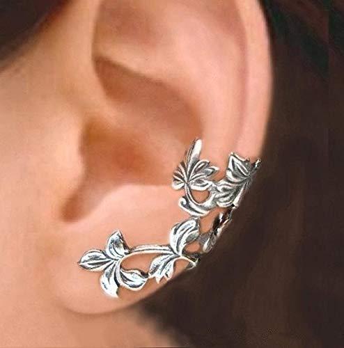 Gogias 2 pares de pendientes con clip para la oreja, sin perforación, diseño retro hueco, árbol de flores femenino, de aleación antigua, vintage, de hoja de oreja, para mujer