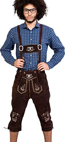 Almwerk Herren Trachten Lederhose Kniebund Modell Platzhirsch, Farbe:Braun;Lederhose Größe Herren:46